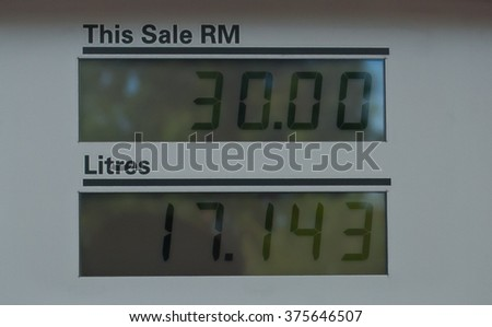 Fuel price in Malaysia. Price decrease trend - stock photo