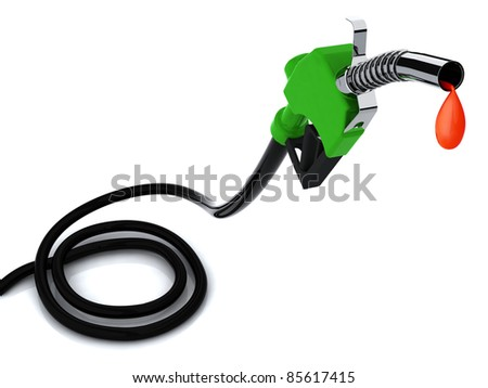 fuel pump with drop of blood 3d illustration - stock photo