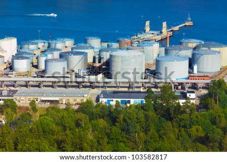 Fuel storage area in Stockholm, Sweden - stock photo