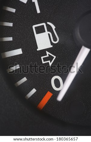 Fuel tank gauge reading at empty  - stock photo