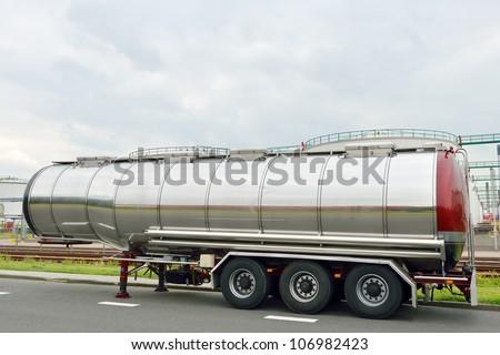 fuel tanker. semi truck - stock photo