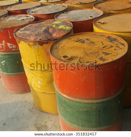 fuel tankoil barrels or chemical drums - stock photo