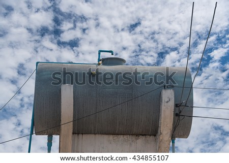 Fuel tanks in filling station - stock photo