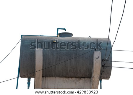Fuel tanks in filling station isolated on white background - stock photo