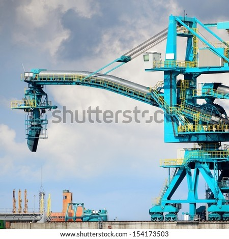 Fuel terminal industrial buildings in cargo port of Ventspils - stock photo