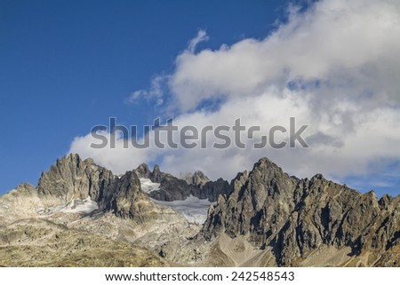 Fuenffingerstoeck, popular climber target in the Urner Alps - stock photo