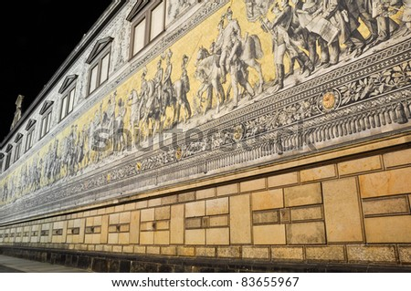 Fuerstenzug (Procession of Princes)  at night,  Dresden  (Germany) - stock photo