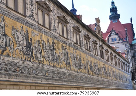 Fuerstenzug (Procession of Princes) - Dresden, Germany - stock photo