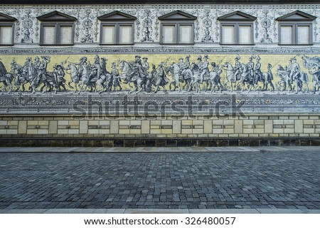 Fuerstenzug (Procession of Princes) is a giant mural in the old town of Dresden, Germany - stock photo