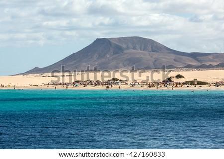 FUERTEVENTURA, SPAIN - SEPTEMBER 17, 2015: Corralejo Beach on Fuerteventura, Canary Islands. Spain - stock photo