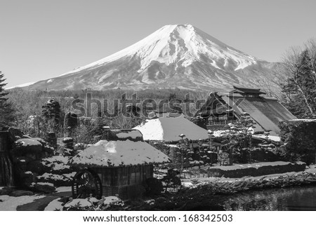 Fuji mount at Oshinohakkai Village, Japan - stock photo