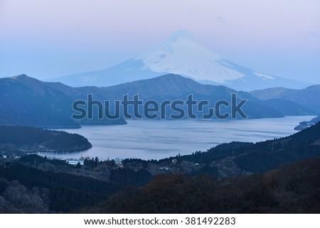 Fujiyama at Lake Ashi, Japan - stock photo