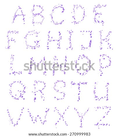 Full ABC alphabet letter set of 26 characters made of the oil paint drops and spills, isolated over the white background - stock photo