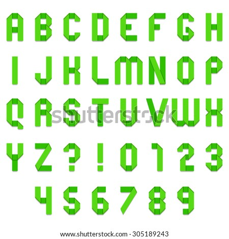 Full alphabet of green folded paper font - stock photo