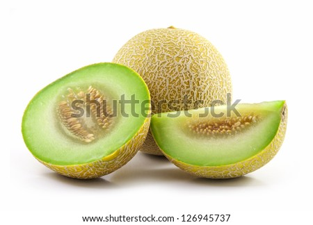 Full and Sliced Cantaloupe Isolated on White Background - stock photo