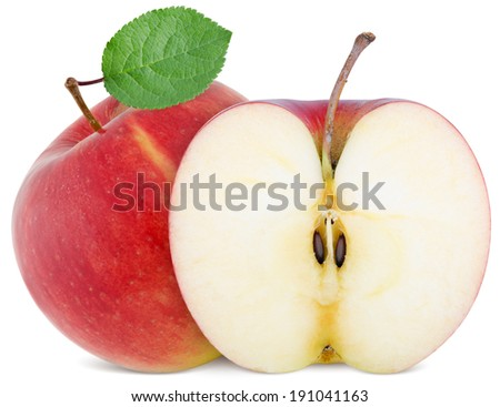 full apple and  cut slice isolated on white background - stock photo