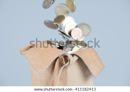 full bag of euro coins - stock photo