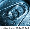 Full beer can with drop of dew. Macro. - stock photo