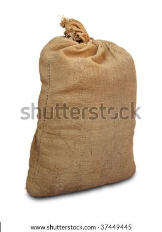 Full big sack isolated on white - stock photo