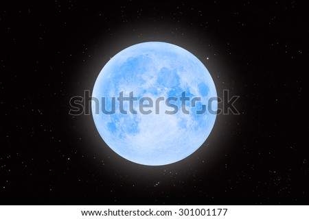 "Full Blue Moon ""Elements of this image furnished by NASA "" - stock photo"