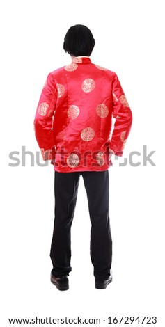 Full body back portrait Asian man with Chinese traditional cheongsam or tang suit. Chinese New Year concept. Male model isolated on white background. - stock photo