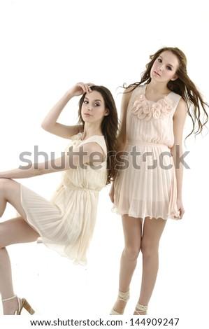 Full body beautiful stylish two girl in fashion stylish posing - stock photo