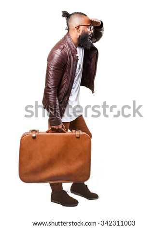 full body black man running with a leather bag - stock photo