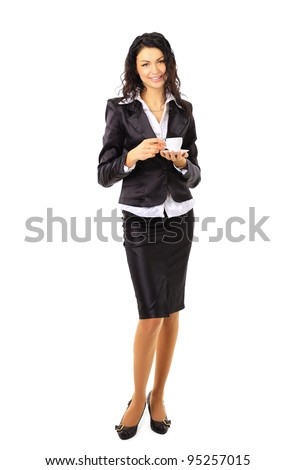Full body business woman with cup of coffee - stock photo
