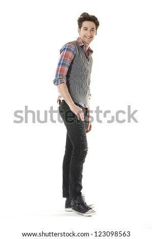 Full body Casual young man standing - isolated - stock photo