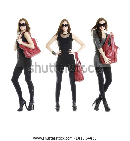 Full body casual young three fashion mode in sunglasses with handbag posing - stock photo