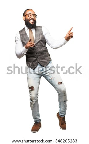 full body cool black man dancing - stock photo