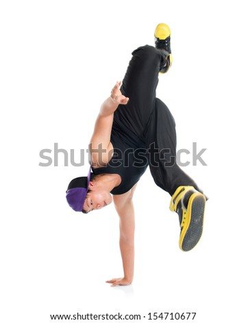 Full body cool looking young Asian teen dance hip hop isolated on white background. Asian youth culture. - stock photo