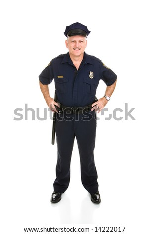 Full body frontal view of a handsome, mature police officer.  Isolated on white background. - stock photo