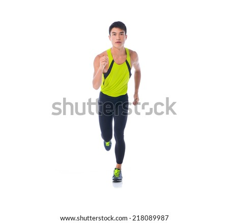 Full body Male athlete running - isolated over a white background - stock photo