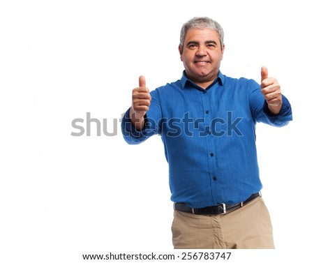 full body mature man doing an okay gesture - stock photo