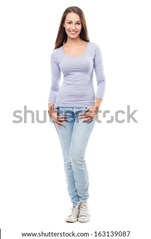 Full body of a casual young woman  - stock photo