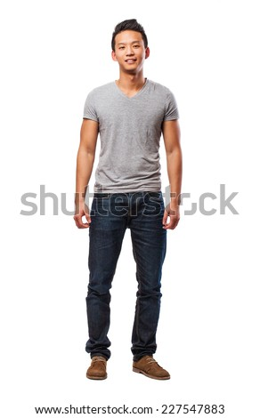 full body of a chinese man on a white background - stock photo