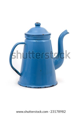 Full body of an old antique coffee can - Madam Blue - stock photo