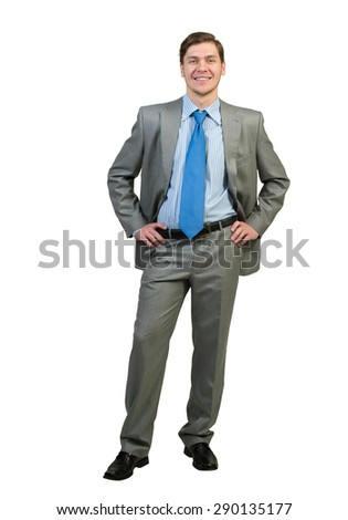 Full body of young confident businessman isolated on white background - stock photo