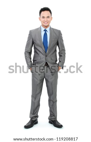 full body portrait asian young business man isolated on white background - stock photo