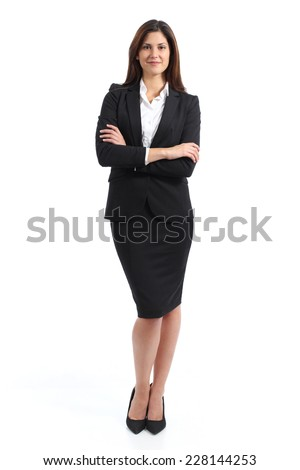 Full body portrait of a confident business woman isolated on a white background - stock photo