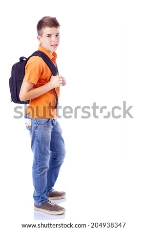 Full body portrait of a smiling school boy with backpack, isolated on white background - stock photo