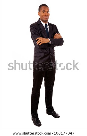 Full body portrait of a successful African young business man, isolated on white - stock photo