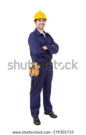 Full body portrait of a worker, isolated on white - stock photo