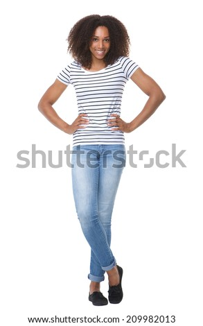 Full body portrait of an attractive young black woman smiling on isolated white background - stock photo