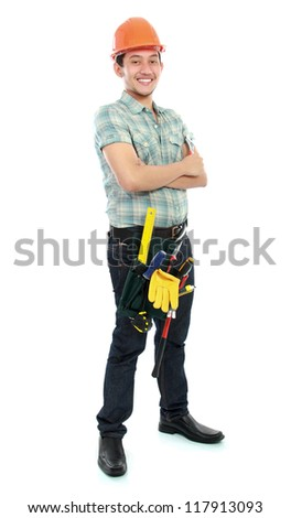 Full body portrait of an happy worker holding a wrench isolated on white background - stock photo
