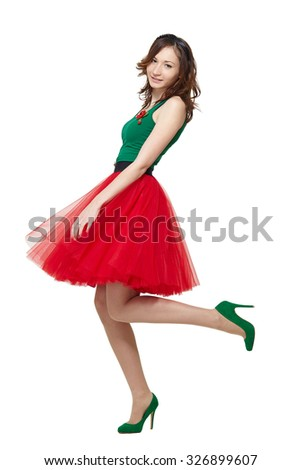 Full body portrait of beautiful young woman fashion model girl in summer red dress isolated on white. - stock photo