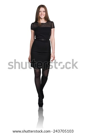 Full body portrait of business woman walking, isolated on white - stock photo
