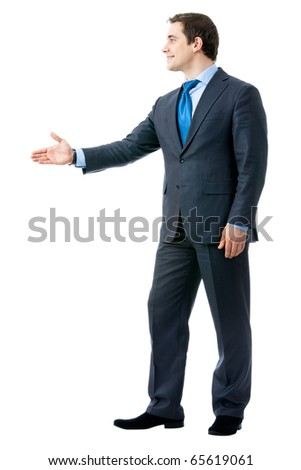 Full body portrait of businessman giving hand for handshake, isolated on white background - stock photo