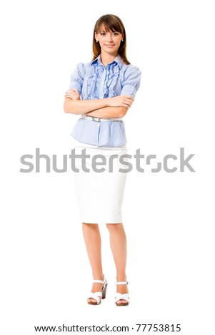Full body portrait of happy smiling business woman, isolated on white background - stock photo